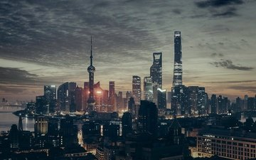 night, panorama, the city, skyscrapers, shanghai, megapolis, china