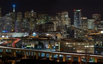 night, the city, usa, skyscrapers, freeway, san francisco, ca