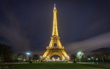 night, lights, the city, paris, france, eiffel tower
