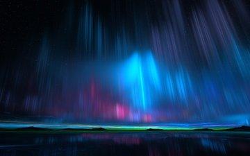 night, reflection, stars, northern lights