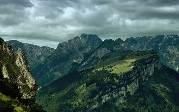 the sky, clouds, mountains, switzerland, alpstein