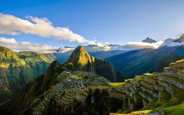 the sky, clouds, mountains, ruins, valley, the ancient city, peru, machu picchu, south america