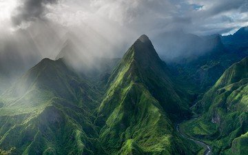 clouds, mountains, nature, landscape, island, valley, the sun's rays