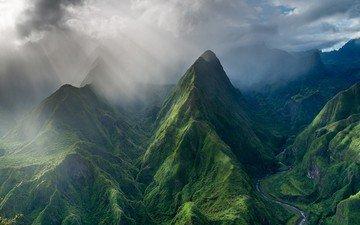 облака, горы, природа, пейзаж, остров, долина, солнечные лучи