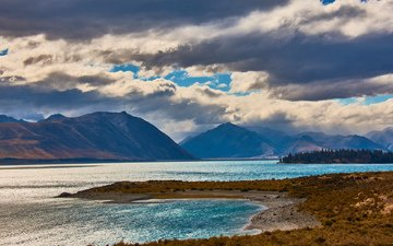 clouds, lake, mountains, nature, landscape
