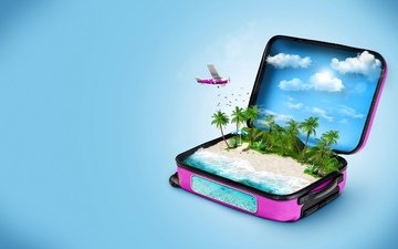 clouds, the plane, background, blue, sea, beach, fish, palm trees, birds, umbrella, stay, suitcase, chaise, 3d graphics
