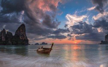 облака, скалы, море, лодка, зарево, таиланд, краби