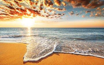 небо, облака, вода, природа, закат, море, песок, пляж