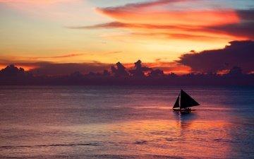 облака, берег, закат, море, горизонт, парусник, лодка, сумерки