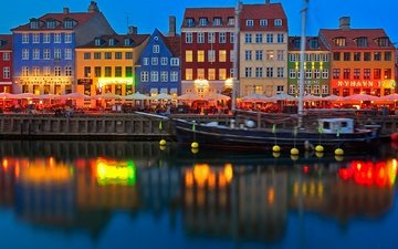 lights, reflection, ship, home, copenhagen, denmark, nyhavn