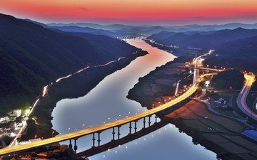 lights, river, mountains, sunset, bridge, the city, south korea, road
