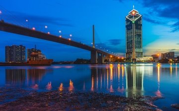lights, the evening, river, bridge, the city, thailand, ekk zbeats