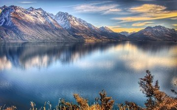 the sky, clouds, lake, mountains, new zealand, queenstown, lake of the ioc