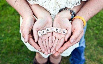 любовь, романтика, пара, руки, forever