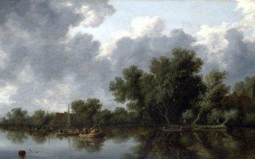 picture, landscape, boat, river scene, salomon van ruysdael, salomon van ruisdael