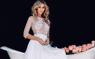 dress, blonde, roses, black background, wedding dress, bryana holly, brian holly