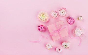 цветы, розовый, лента, подарок, свадьба, праздник, декор, короб