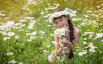 grass, smile, field, children, chamomile, braid, wreath, flowers, girl