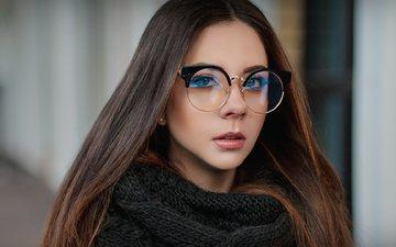 глаза, девушка, портрет, очки, модель, волосы, губы, лицо, фотосессия, шарф