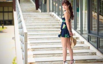 лестница, ступеньки, девушка, платье, поза, улыбка, ножки, шляпа, азиатка