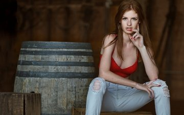 pose, red, model, jeans, barrel, freckles, redhead, topic, chloe fox