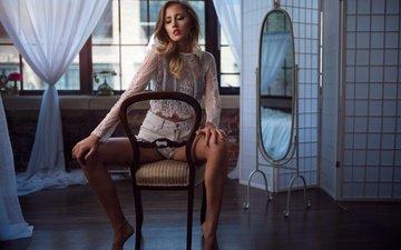 pose, chair, mirror, model, shorts