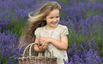 flowers, nature, mood, smile, field, lavender, girl, basket, child