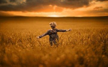 the sun, nature, field, girl, child, running