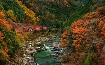 trees, river, mountains, nature, stones, forest, landscape, autumn, stream, train, valley