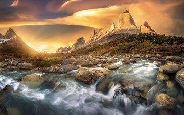 river, mountains, nature, stones, landscape, beauty, boulders
