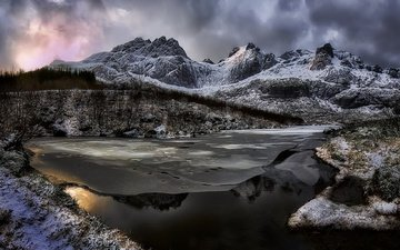 river, mountains, snow, clouds, reflection