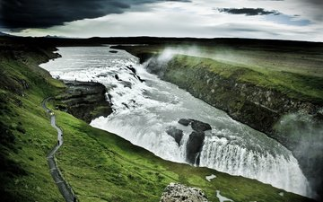 the sky, river, mountains, nature, people, waterfall, iceland, excursion, gullfoss waterfall