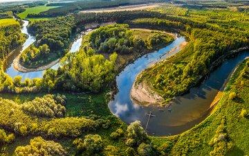 деревья, река, солнце, зелень, лес, поля, лето, панорама, леса, чехия, morava, straznice