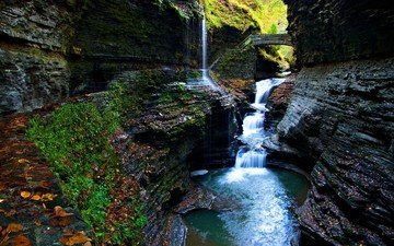 river, park, rock, waterfall, usa, gorge, moss, watkins glen