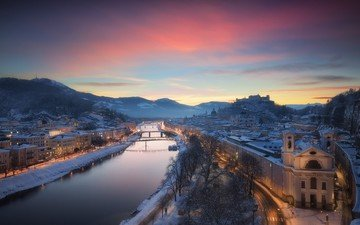 river, snow, sunset, winter, the city, austria, salzburg