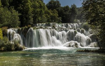 trees, river, forest, waterfall, croatia, sunny, krka national park