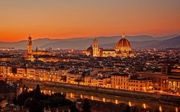river, sunset, the city, italy, florence, the cathedral of santa maria del fiore