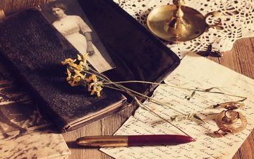 flowers, handle, photo, vintage, retro, watch, letter, napkin