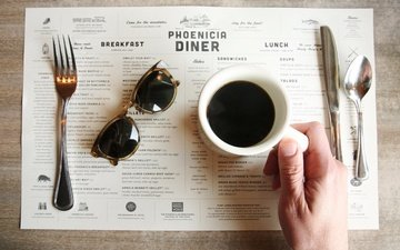 hand, cafe, glasses, coffee, table, plug, knife, spoon, menu