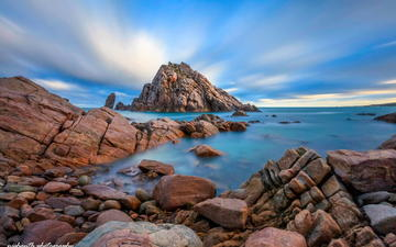clouds, rocks, stones, shore, sea, coast, blue sky