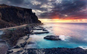 road, clouds, rocks, shore, sunset, sea, beach, coast