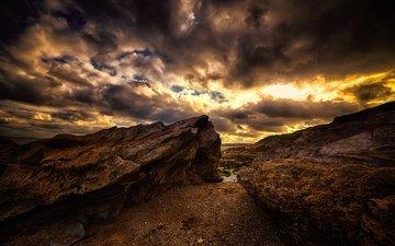 the sky, rocks, clouds, landscape