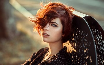 the sun, girl, portrait, look, red, model, face, hairstyle
