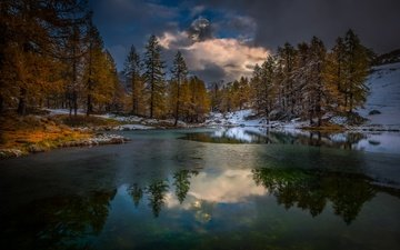the sky, grass, clouds, trees, water, mountains, snow, nature, reflection, ice