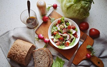 plug, bread, vegetables, glass, tomatoes, cabbage, salad, radishes