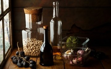 grapes, wine, vegetables, bottle, pumpkin, still life, garlic