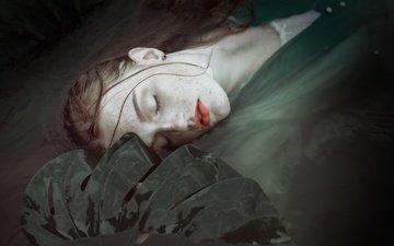 water, girl, lips, wet, freckles, closed eyes, aleksandra sztama