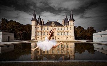 вода, девушка, настроение, отражение, замок, танец, франция, балерина, бордоский, шато мутон-ротшильд, melissa charrier