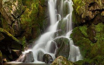 water, stones, rock, waterfall, moss