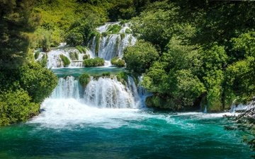 trees, water, river, nature, forest, waterfall, croatia